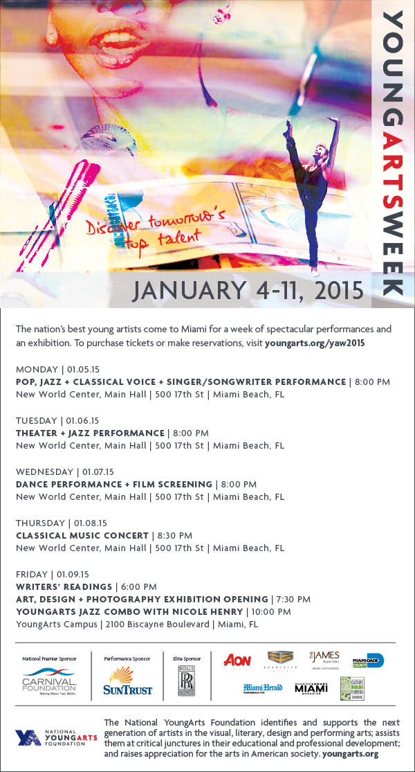 YoungArts Week 2015 Schedule